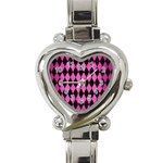 DIAMOND1 BLACK MARBLE & PINK BRUSHED METAL Heart Italian Charm Watch
