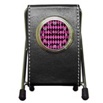 DIAMOND1 BLACK MARBLE & PINK BRUSHED METAL Pen Holder Desk Clocks