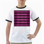 DIAMOND1 BLACK MARBLE & PINK BRUSHED METAL Ringer T-Shirts