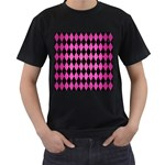 DIAMOND1 BLACK MARBLE & PINK BRUSHED METAL Men s T-Shirt (Black) (Two Sided)