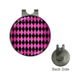 DIAMOND1 BLACK MARBLE & PINK BRUSHED METAL Hat Clips with Golf Markers