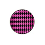 DIAMOND1 BLACK MARBLE & PINK BRUSHED METAL Hat Clip Ball Marker