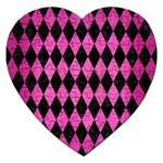 DIAMOND1 BLACK MARBLE & PINK BRUSHED METAL Jigsaw Puzzle (Heart)
