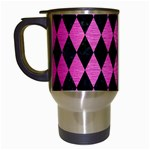 DIAMOND1 BLACK MARBLE & PINK BRUSHED METAL Travel Mugs (White)