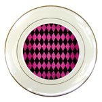 DIAMOND1 BLACK MARBLE & PINK BRUSHED METAL Porcelain Plates