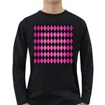 DIAMOND1 BLACK MARBLE & PINK BRUSHED METAL Long Sleeve Dark T-Shirts
