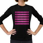 DIAMOND1 BLACK MARBLE & PINK BRUSHED METAL Women s Long Sleeve Dark T-Shirts