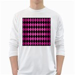 DIAMOND1 BLACK MARBLE & PINK BRUSHED METAL White Long Sleeve T-Shirts