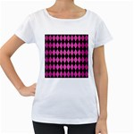 DIAMOND1 BLACK MARBLE & PINK BRUSHED METAL Women s Loose-Fit T-Shirt (White)