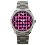 DIAMOND1 BLACK MARBLE & PINK BRUSHED METAL Sport Metal Watch