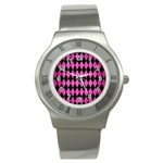 DIAMOND1 BLACK MARBLE & PINK BRUSHED METAL Stainless Steel Watch