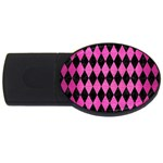 DIAMOND1 BLACK MARBLE & PINK BRUSHED METAL USB Flash Drive Oval (4 GB)