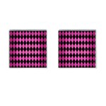 DIAMOND1 BLACK MARBLE & PINK BRUSHED METAL Cufflinks (Square)