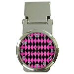 DIAMOND1 BLACK MARBLE & PINK BRUSHED METAL Money Clip Watches