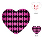 DIAMOND1 BLACK MARBLE & PINK BRUSHED METAL Playing Cards (Heart)