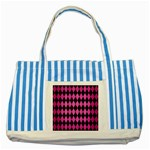 DIAMOND1 BLACK MARBLE & PINK BRUSHED METAL Striped Blue Tote Bag