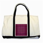 DIAMOND1 BLACK MARBLE & PINK BRUSHED METAL Two Tone Tote Bag