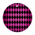 DIAMOND1 BLACK MARBLE & PINK BRUSHED METAL Round Ornament (Two Sides)