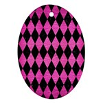 DIAMOND1 BLACK MARBLE & PINK BRUSHED METAL Oval Ornament (Two Sides)