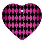 DIAMOND1 BLACK MARBLE & PINK BRUSHED METAL Heart Ornament (Two Sides)