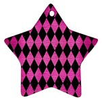 DIAMOND1 BLACK MARBLE & PINK BRUSHED METAL Star Ornament (Two Sides)