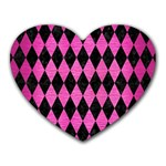 DIAMOND1 BLACK MARBLE & PINK BRUSHED METAL Heart Mousepads