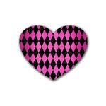 DIAMOND1 BLACK MARBLE & PINK BRUSHED METAL Rubber Coaster (Heart)