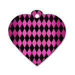 DIAMOND1 BLACK MARBLE & PINK BRUSHED METAL Dog Tag Heart (Two Sides)