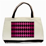 DIAMOND1 BLACK MARBLE & PINK BRUSHED METAL Basic Tote Bag (Two Sides)