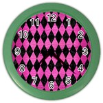 DIAMOND1 BLACK MARBLE & PINK BRUSHED METAL Color Wall Clocks