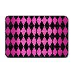 DIAMOND1 BLACK MARBLE & PINK BRUSHED METAL Small Doormat