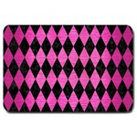 DIAMOND1 BLACK MARBLE & PINK BRUSHED METAL Large Doormat