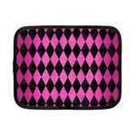 DIAMOND1 BLACK MARBLE & PINK BRUSHED METAL Netbook Case (Small)