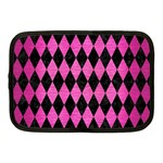 DIAMOND1 BLACK MARBLE & PINK BRUSHED METAL Netbook Case (Medium)