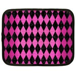 DIAMOND1 BLACK MARBLE & PINK BRUSHED METAL Netbook Case (Large)