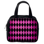 DIAMOND1 BLACK MARBLE & PINK BRUSHED METAL Classic Handbags (One Side)