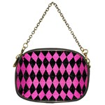 DIAMOND1 BLACK MARBLE & PINK BRUSHED METAL Chain Purses (One Side)