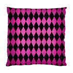 DIAMOND1 BLACK MARBLE & PINK BRUSHED METAL Standard Cushion Case (One Side)