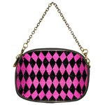 DIAMOND1 BLACK MARBLE & PINK BRUSHED METAL Chain Purses (Two Sides)