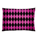 DIAMOND1 BLACK MARBLE & PINK BRUSHED METAL Pillow Case