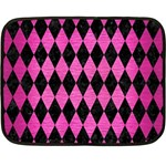DIAMOND1 BLACK MARBLE & PINK BRUSHED METAL Double Sided Fleece Blanket (Mini)