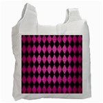 DIAMOND1 BLACK MARBLE & PINK BRUSHED METAL Recycle Bag (Two Side)