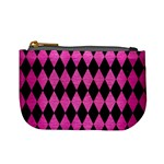 DIAMOND1 BLACK MARBLE & PINK BRUSHED METAL Mini Coin Purses