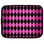 DIAMOND1 BLACK MARBLE & PINK BRUSHED METAL Netbook Case (XL)