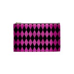DIAMOND1 BLACK MARBLE & PINK BRUSHED METAL Cosmetic Bag (Small)