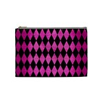 DIAMOND1 BLACK MARBLE & PINK BRUSHED METAL Cosmetic Bag (Medium)