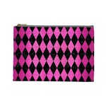 DIAMOND1 BLACK MARBLE & PINK BRUSHED METAL Cosmetic Bag (Large)