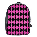 DIAMOND1 BLACK MARBLE & PINK BRUSHED METAL School Bag (Large)