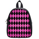 DIAMOND1 BLACK MARBLE & PINK BRUSHED METAL School Bag (Small)