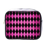 DIAMOND1 BLACK MARBLE & PINK BRUSHED METAL Mini Toiletries Bags